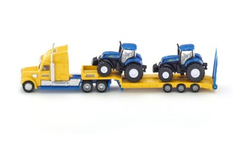 SIKU Super 1805 - Tahač s vlekem a 2 traktory New Holland 1:87