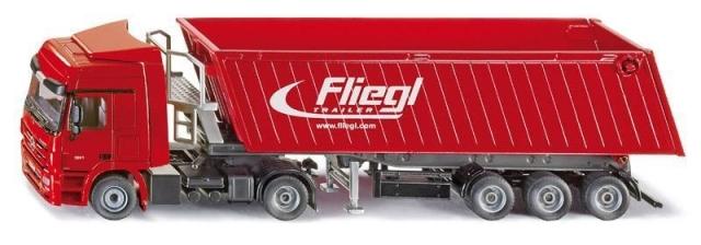 SIKU Super - Kamion s vyklápěcím vlekem červený
